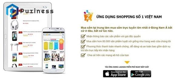 lazada - một trong các app bán hàng online