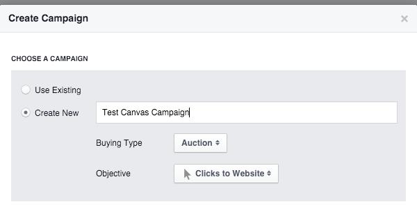 tạo campaign adset ad canvas